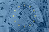 Flag Of Eu With Transparent Euro Banknotes In Background