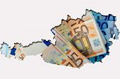 Outline Map Of Austria With Euro Banknotes In Background