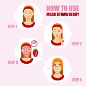 Постер, плакат: Face Mask Beauty Girl With Face Mask Different Face Mask Moisturizing Nourishing Cleansing Reju
