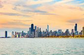 Downtown City Skyline Of Chicago At Dawn, Illinois, Usa poster