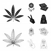 Amulet, Hippie Girl, Freedom Sign, Old Cassette.hippy Set Collection Icons In Black, Outline Style V poster