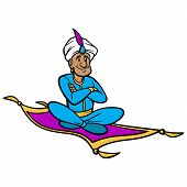 Magic Carpet Ride - A Vector Cartoon Illustration Of A Man Riding A Magic Carpet. poster