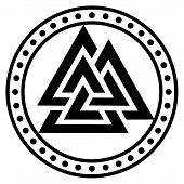 Valknut Ancient Pagan Nordic Germanic Symbol, Isolated On White, Vector Illustration poster