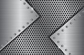 Metal Perforated Background With Brushed Iron Plates With Rivets. Vector 3d Illustration poster