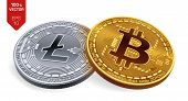 Bitcoin. Litecoin. 3d Isometric Physical Coins. Digital Currency. Cryptocurrency. Silver Coin With L poster