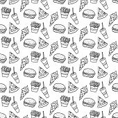 Cute Cartoon Fast Food Pattern With Hand Drawn Fast Food. Sweet Vector Black And White Fast Food Pat poster