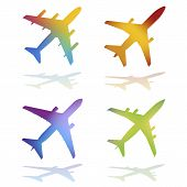 picture of png  - Four Gradient Color Commercial Airplanes With Ground Shadows  - JPG