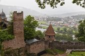 Ruins Of Ancient Castle Wertheim - The Most Picturesque Ruins In Germany  . Top View From  The Ruine poster