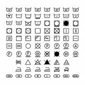 Clothing Washing Label Instructions, Laundry Symbols Icon Set, Washing Label Icons For Clothes poster