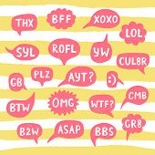 Постер, плакат: Hand Drawn Internet Acronyms Abbreviations In Chat Bubbles Networking And Conversation Vector Ill