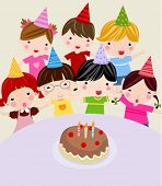 Children with a cake. Vector illustration.