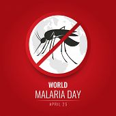 World Malaria Day With No Mosquito Sign And World Map On Red Background Vector Design poster