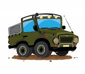 A Vector Cartoon Representing A Funny Green Military Offroad Custom Car Parked In The Mud poster
