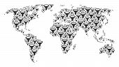 Global World Map Composition Done Of Filter Pictograms. Vector Filter Items Are Combined Into Geomet poster
