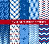 Ten Marine Different Seamless Patterns. Vector Illustration For Nautical Design. Endless Texture Can poster