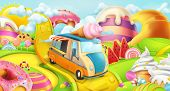 Sweet Candy Land. Ice Cream Truck. 3d Vector Background poster