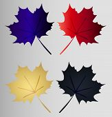 Set Maple Leaf - Four Maple Leaves Art Gradient On A Gray Background. Bright Silhouette Of A Maple L poster