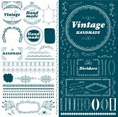 Vintage Hand Made Divider Lines Set Isolated Vector Illustration. Retro Collection Of Page Divider,  poster