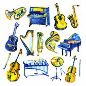 Watercolor Musical Instruments Set. All Kinds Of Instruments Like Piano, Saxophone, Trumpet, Drums A poster