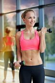 sport, fitness, training, weightlifting and people concept - young sporty woman with dumbbells flexi poster