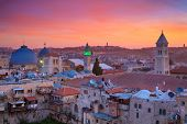 Jerusalem. Cityscape Image Of Old Town Of Jerusalem, Israel At Sunrise. poster