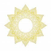 Mandala Pattern. Circle Monogram. Gold Floral Mandala. Decorative Round Ornament. Islam, Arabic, Ind poster