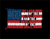 Grunge Textured Illustration Of The Phrase america Land Of The Free And Home Of The Brave Depicted poster