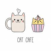 Hand Drawn Vector Illustration Of A Kawaii Funny Steaming Mug Cup, Cupcake With Cat Ears. Isolated O poster