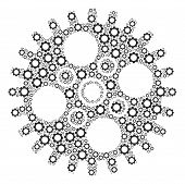 Cogwheel Collage Of Gears. Vector Gear Wheel Elements Are Organized Into Cogwheel Figure. poster