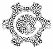 Rotate Gear Composition Of Cogs. Vector Gear Parts Are Organized Into Rotate Gear Shape. poster