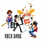 Rock Band, Music Group With Musicians Concept Of Artistic People Illustration. Singer, Guitarist, Dr poster