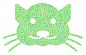 Kitty Composition Of Circle Dots In Different Sizes And Ecological Green Shades. Circle Elements Are poster