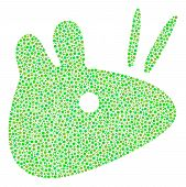 Mouse Head Composition Of Circle Dots In Various Sizes And Fresh Green Color Tones. Circle Dots Are  poster
