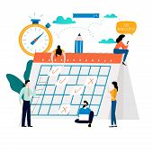 Time Management, Planning Events, Organization, Time Optimization, Deadline, Planning Schedule Flat  poster