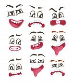Funny Smileys Faces Isolated Icon Set. Happiness, Anger, Joy, Fury, Sad, Playful, Fear, Surprise Smi poster
