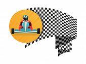 Kart Championship Symbol Isolated On White Background Illustration. Extreme Karting Sport, Road Trop poster