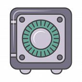 Bank Safe Pictogram Isolated On White Background Illustration. Business Protection, Combination Safe poster