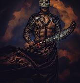 Brutal Dangerous Tattooed Medievel Fighter In Skull Mask In Armor poster
