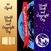 World Book And Copyright Day. Bookmarks For Event Participants. Old Book, Name And Date Of Event. Re poster