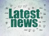 News Concept: Painted Green Text Latest News On Digital Data Paper Background With  Hand Drawn News  poster