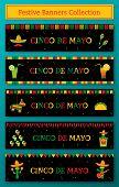 Set Of 5 Celebration Cinco De Mayo Web Banner. Horizontal Vector Illustration With Pinata And Taco,  poster