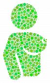 Naked Woman Collage Of Circle Elements In Various Sizes And Eco Green Color Hues. Vector Round Dots  poster