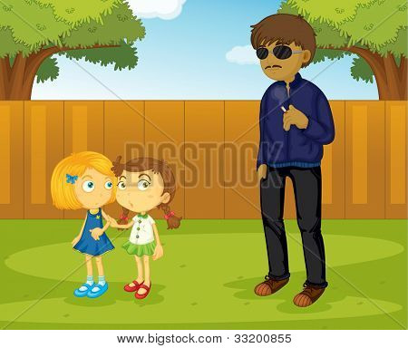 Illustration of a suspicious man approaching girls - EPS VECTOR format also available in my portfolio.
