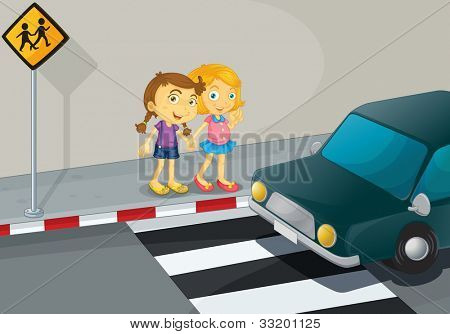 Illustration of 2 girls crossing the street - EPS VECTOR format also available in my portfolio.