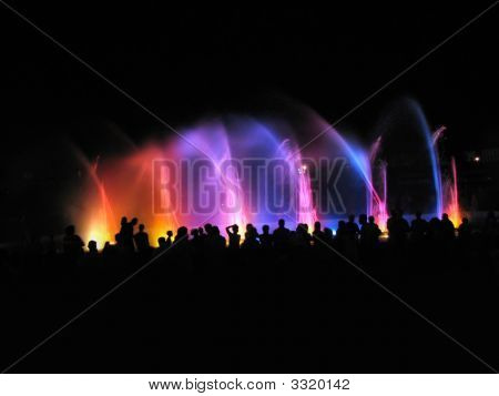 Night Club; Fountain In Night