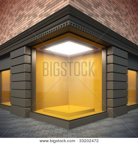 A 3d illustration of blank template corner showcase.