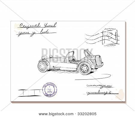 Vintage letter with old car2