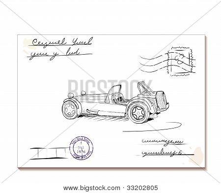 Vintage letter with old car2