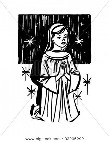 Girl Kneeling In Prayer - Retro Clipart Illustration