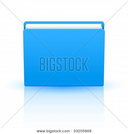 Vector Blue Folder Isolated On White Background. Eps10